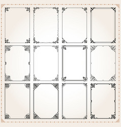 Decorative frames and borders rectangle set 7 vector