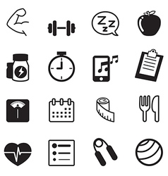 Fitness and dieting icons set vector image