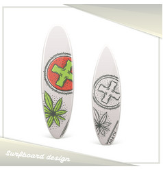 Medical marijuana surfboard three vector