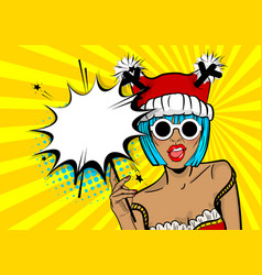 merry christmas woman pop art hold sparkler vector image vector image