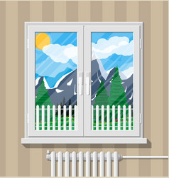 Nature mountain landscape behind window vector