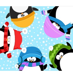 Penguins celebrating snow vector