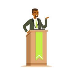 Politician man speaking behind the podium public vector