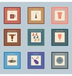 Retro style icons set for cafe vector image