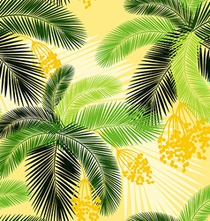 Seamless color palm leaves and fruit pattern vector image vector image