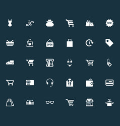 Set of simple basket icons elements sack carriage vector