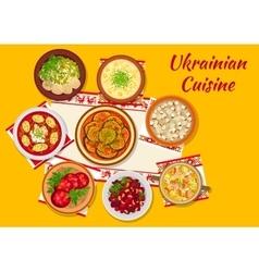 Ukrainian cuisine national dinner dishes sign vector