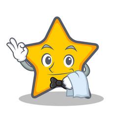 Waiter star character cartoon style vector