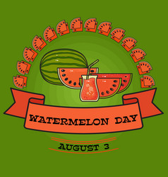 watermelon day poster greeting card about vector image