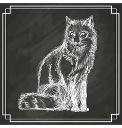 White fox sketch dark background vector