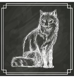 white fox sketch dark background vector image