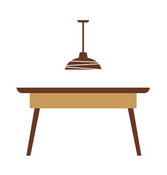 wooden table with lamp vector image