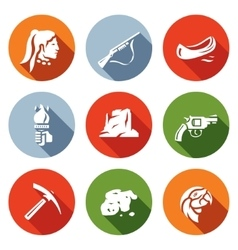 Set of redskin icons red man shotgun vector