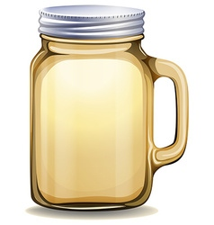 Glass jar with aluminum lid vector