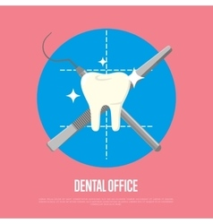 Dental office banner with syringe and scalpel vector