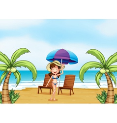 A lady at the beach with coconut trees vector