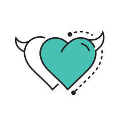 Two line icon style heart devil blue vector