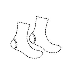 Socks sign black dashed icon on white vector