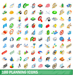 100 planning icons set isometric 3d style vector