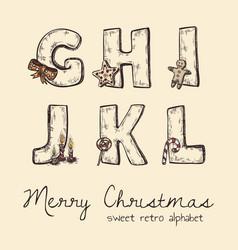 Retro christmas alphabet - g h j k l i vector