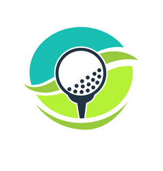 golf club label with white ball on stand vector image