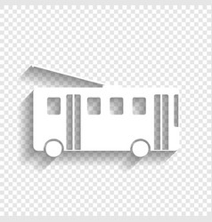 Trolleybus sign  white icon with soft vector