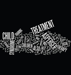 Aspergers treatment text background word cloud vector