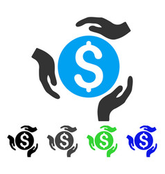 Money care hands flat icon vector
