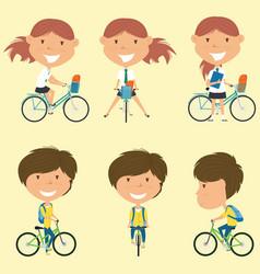 school girls on the bikes vector image