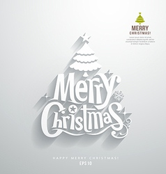 Merry Christmas lettering paper cut design vector image