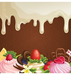 White chocolate sweets background vector image