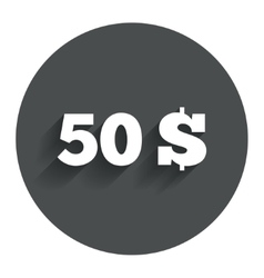 50 dollars sign icon usd currency symbol vector