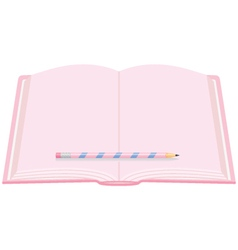 A girls pink open diary with pencil vector