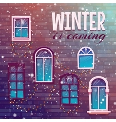 Background of winter with building wall vector