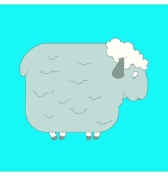 Flat hand drawn icon of a cute sheep vector