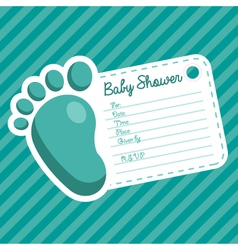 Blue foot baby shower invitation vector