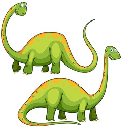 Two green dinosaurs smiling vector