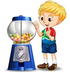 Little boy by the candy machine vector