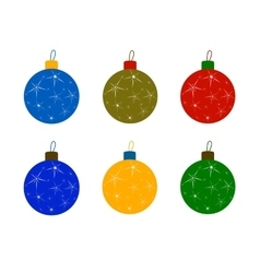 Set of christmas tree colored balls vector
