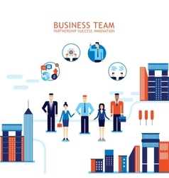 Group of business people on city background vector