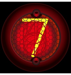 Digit 7 seven nixie tube indicator vector