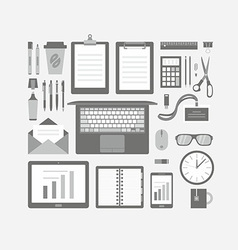 Business items flat icons set vector