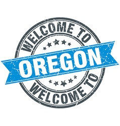 Welcome to oregon blue round vintage stamp vector