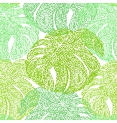 Monstera leaves in paisley style vector