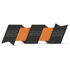 Black origami paper banner vector