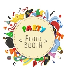Party birthday photo booth props hat and mask vector