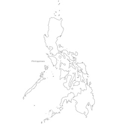Black white philippines outline map vector