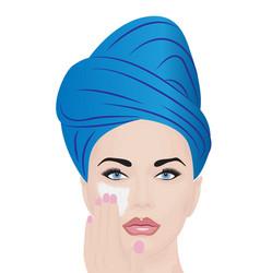 A girl using facial cream for skincare vector