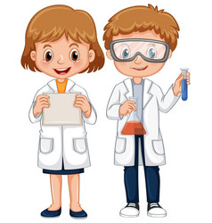boy and girl in science gown vector image vector image