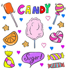 Candy colorful doodle style vector